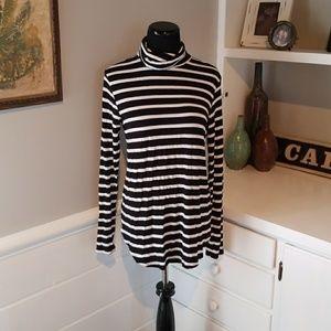 Knit striped turtleneck